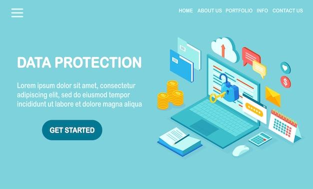 Ochrona danych. bezpieczeństwo w internecie, dostęp do prywatności za pomocą hasła. izometryczny komputer z kluczem, otwarty zamek, folder, chmura, dokumenty, laptop, pieniądze.