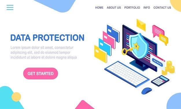 Ochrona danych. bezpieczeństwo w internecie, dostęp do prywatności za pomocą hasła. izometryczny komputer z kluczem, zamkiem, tarczą, teczką, bańką wiadomości.