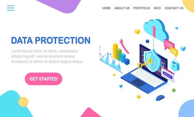 Ochrona danych. bezpieczeństwo w internecie, dostęp do prywatności za pomocą hasła. izometryczny komputer z kluczem, zamkiem, tarczą, wykresem, wykresem.