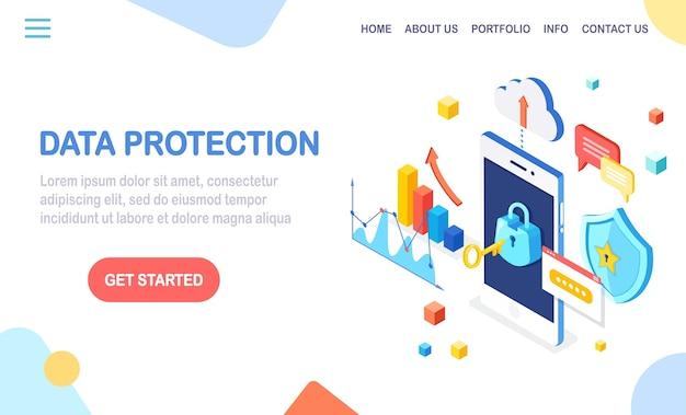 Ochrona danych. bezpieczeństwo w internecie, dostęp do prywatności za pomocą hasła. izometryczny telefon komórkowy z kluczem, zamkiem, tarczą, chmurą, dymkiem, smartfonem, pieniędzmi, wykresem, wykresem.