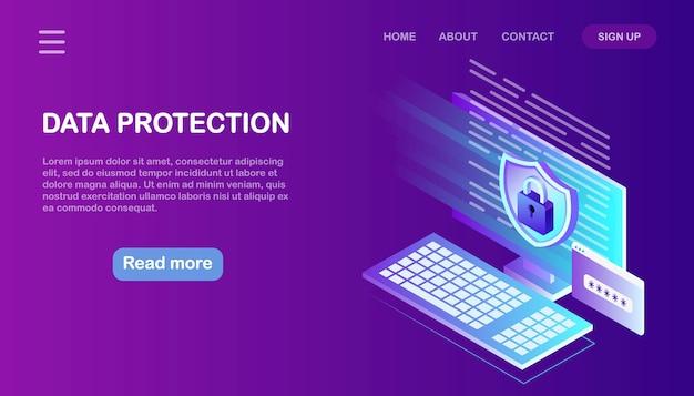 Ochrona danych. bezpieczeństwo w internecie, dostęp do prywatności za pomocą hasła. komputer izometryczny, tarcza, zamek