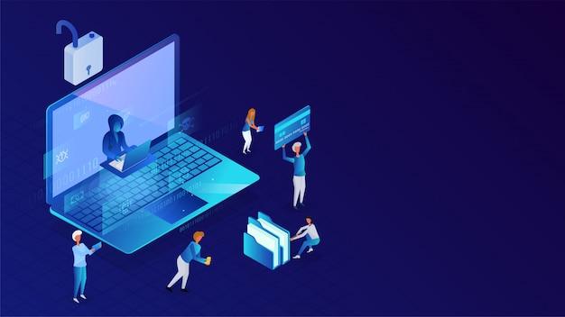 Ochrona danych lub bezpieczeństwo, pracujący ludzie biznesu i haker próbujący włamać się do danych z laptopa w celu pojęcia hakowania.
