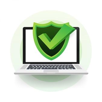 Ochrona danych na laptopie, prywatność i bezpieczeństwo w internecie. ilustracja.
