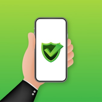 Ochrona danych na smartfonie, prywatność i bezpieczeństwo w internecie. ilustracja.