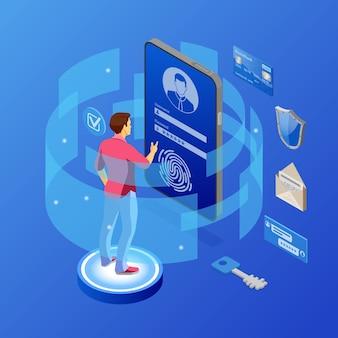 Ochrona danych osobowych, bezpieczeństwo w internecie. telefon z ochroną poufnych danych, tarczą, formularzem logowania użytkownika. antywirusowe hackowanie izometrycznej koncepcji rodo. ilustracja wektorowa na białym tle