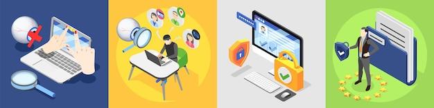 Ochrona danych osobowych rodo izometryczna ilustracja 4x1