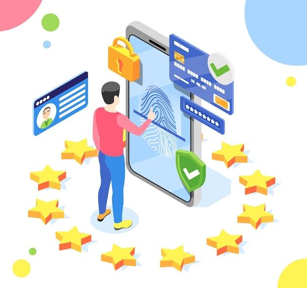 Ochrona danych osobowych skład izometryczny gdpr z mężczyzną i smartfonem z piktogramami wewnątrz ilustracji koła gwiazd ue