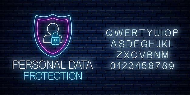 Ochrona danych osobowych świecący neon znak z alfabetem na tle ciemnej cegły ściany. internetowy symbol bezpieczeństwa cybernetycznego z tarczą, sylwetką człowieka i kłódką. ilustracja wektorowa.