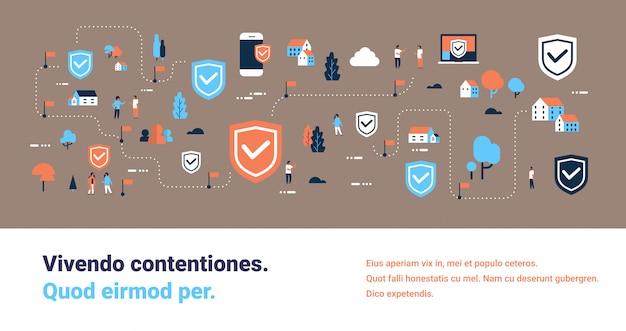 Ochrona danych tarcza dostęp połączenie izometryczny wykres ilustracja