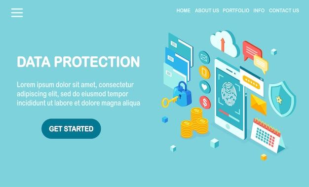 Ochrona danych. zeskanuj odcisk palca do telefonu komórkowego. system bezpieczeństwa identyfikatora smartfona. podpis cyfrowy. technologia identyfikacji biometrycznej, dostęp osobisty. zamek izometryczny, klucz, tarcza.