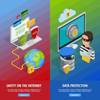 Ochrona danych zestaw pionowych banerów