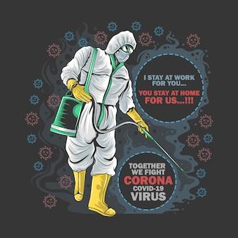 Ochrona dezynfektora corona virus lekarz maska medyczna i dym sztuka
