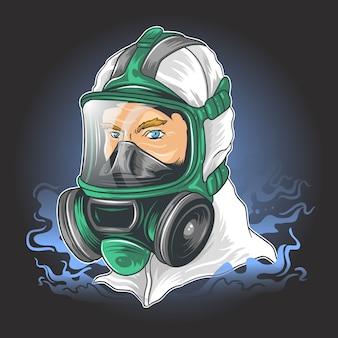 Ochrona dezynfektora corona virus lekarz maska medyczna