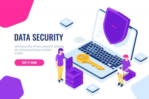 Ochrona i bezpieczeństwo danych komputerowych izometryczny, laptop z tarczą, człowiek siedzieć na krześle z laptopem