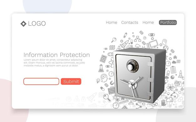 Ochrona informacji, koncepcja strony docelowej. ilustracja wektorowa