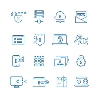 Ochrona internetu i zabezpieczenia społecznego zarys wektorowe ikony