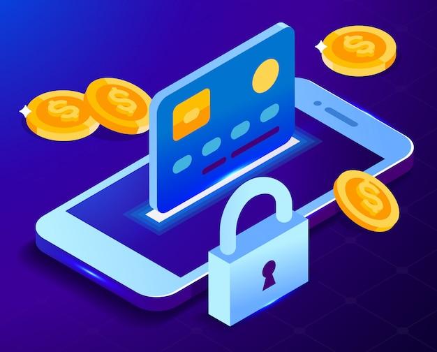 Ochrona karty bankowej w telefonie. bezpieczeństwo karty kredytowej. izometryczne ilustracji
