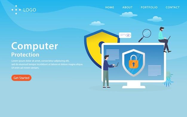 Ochrona komputera, szablon strony internetowej, warstwowy, łatwy do edycji i dostosowania, koncepcja ilustracji