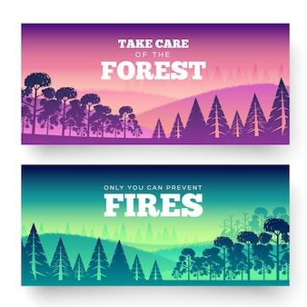Ochrona lasów przed pożarem dzień. zadbaj o plakat z ilustracją lasu.