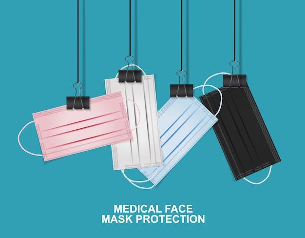 Ochrona medycznej maski na twarz. ilustracja