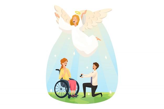 Ochrona, niepełnosprawność, wsparcie, religia, ślub, koncepcja chrześcijaństwa. anioł biblijny charakter szczęśliwy dla młodego mężczyzny chłopaka składającego oświadczyny niepełnosprawnej kobiecie. boska pomoc dobra nowina radość