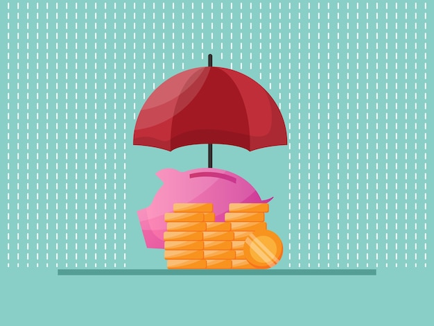 Ochrona oszczędzania pieniędzy z płaskim czerwonym parasolem