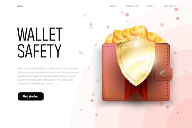 Ochrona pieniędzy, tarcza wizualizuje ochronę portfela. bezpieczeństwo finansowe.