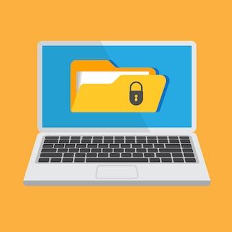 Ochrona plików. koncepcja bezpieczeństwa danych i prywatności na wyświetlaczu laptopa. bezpieczne informacje poufne. ilustracja.