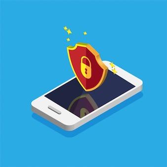 Ochrona plików. koncepcja bezpieczeństwa danych i prywatności na wyświetlaczu telefonu. bezpieczne informacje poufne. smartfon z czerwoną tarczą na ekranie. ilustracja.