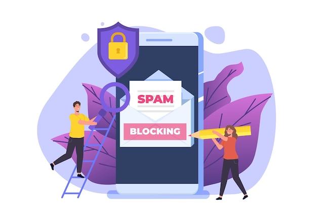 Ochrona poczty e-mail, ochrona przed złośliwym oprogramowaniem, koncepcja antyspamowa. płaska ilustracja wektorowa