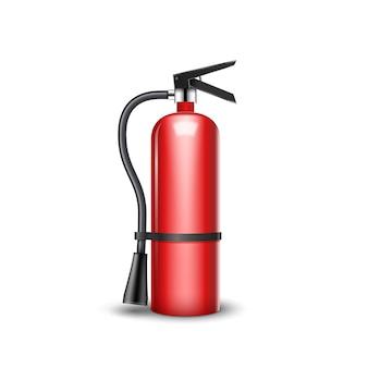 Ochrona przeciwpożarowa na białym tle. czerwona gaśnica awaryjna