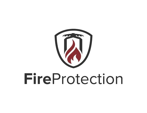 Ochrona przeciwpożarowa z tarczą prosty kreatywny elegancki nowoczesny projekt logo