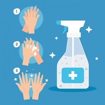 Ochrona przed koronawirusem, często kroczy dłońmi ze środkiem dezynfekującym do butelek w sprayu, chroń covida 19