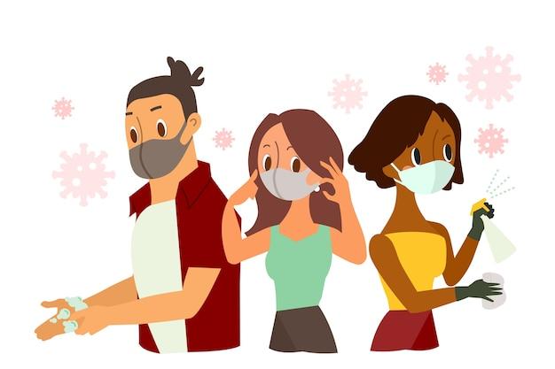 Ochrona przed koronawirusem. osoby noszące ochronną maskę na twarz, mycie rąk, rozpylanie antybakteryjnego sprayu dezynfekującego. ilustracja kreskówka