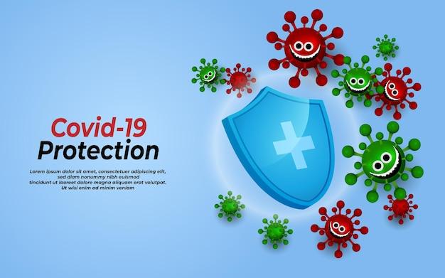 Ochrona przed koronawirusem pomaga uodparniać pandemia epidemia covid19 koncepcja opieki zdrowotnej i medycznej