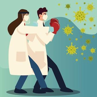 Ochrona przed wirusami covid dwóch lekarzy uderzających w maski i rękawiczki z motywem koronawirusa