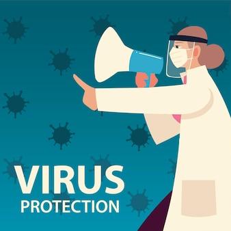 Ochrona przed wirusami covid i kobieta-lekarz z maską i megafonem oraz motywem koronawirusa