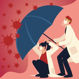 Ochrona przed wirusami covid i lekarze z maskami i parasolem oraz motywem koronawirusa