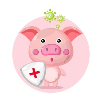 Ochrona przed wirusami świnia słodkie logo postaci