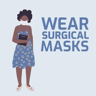 Ochrona przed wirusami w mediach społecznościowych po makiecie. nosić frazę maski chirurgiczne. szablon projektu banera internetowego. wzmacniacz ochrony osobistej, układ treści z napisem. plakat, reklamy drukowane i płaska ilustracja