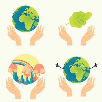 Ochrona przyrody. natura w naszych rękach zestaw elementów samodzielnie na białym tle