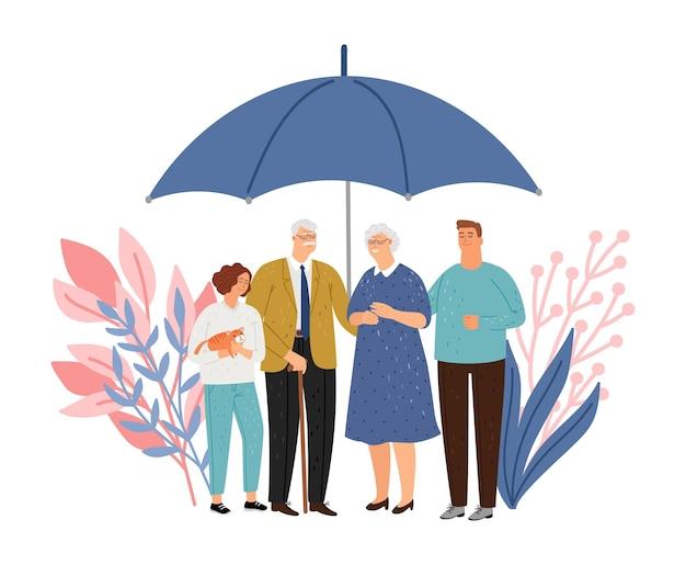 Ochrona rodziny. starsi rodzice i dzieci przebywają pod dużym parasolem. ochrona zdrowia i życia, koncepcja wektor ubezpieczenia medycznego