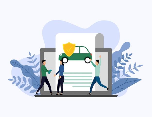 Ochrona samochodu, biznes ilustracja