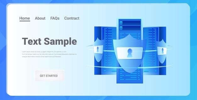 Ochrona serwera bazy danych koncepcja bezpieczeństwa prywatności dużych danych pozioma ilustracja przestrzeni kopii