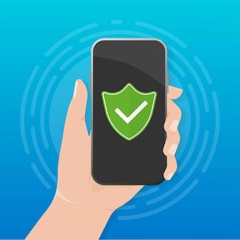 Ochrona smartfona ręką. interfejs aplikacji mobilnej. ręka trzyma smartphone.
