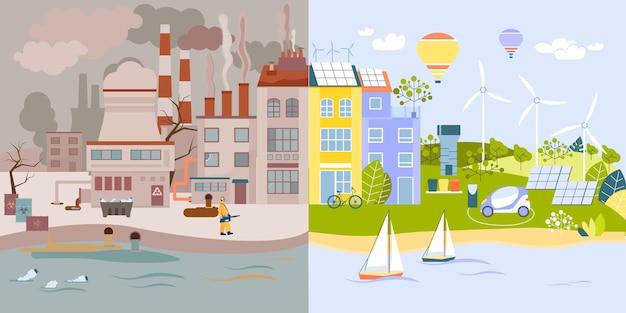 Ochrona środowiska płaski zestaw dwóch kompozycji z zanieczyszczoną scenerią fabryczną vs czyste eko miasto