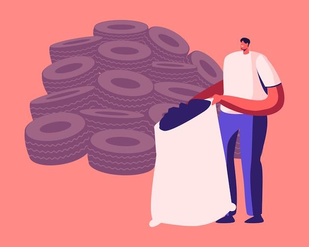 Ochrona środowiska przemysł recyklingu, ponowne wykorzystanie gumowych śmieci. płaskie ilustracja kreskówka