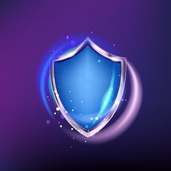 Ochrona tarcza ikona na białym tle na niebieskim tle połysk. realistyczna zbroja i plastry miodu