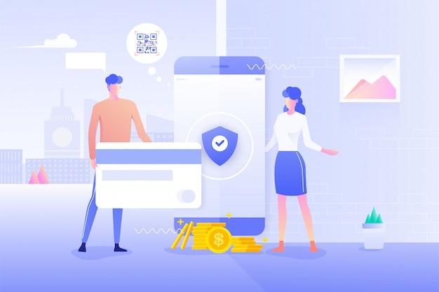 Ochrona transakcji płatności online za pomocą smartfona. bankowość internetowa za pomocą karty kredytowej na smartfonie. zakupy bezgotówkowe dla społeczeństwa i ochrony płacą bezprzewodowo za pomocą smartfona i skanu kodu qr.