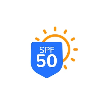 Ochrona uv, ikona spf 50, etykieta wektorowa